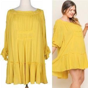 Boho Cloud 2X Flowy Yellow Smocked Ruffle Dress